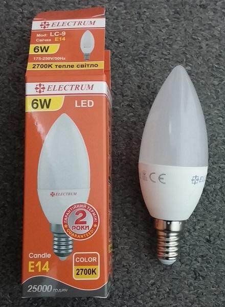 лампочка E14 4w свечка